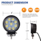 CE ROHS DOT IP68 waterproof 4inch 27w round led work light